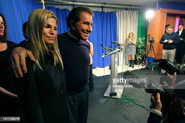 Steve Wynn CEO of Wynn Resorts and wife Andrea Hissom leave a press conference at Everett City Hall after holding preliminary talks with town...