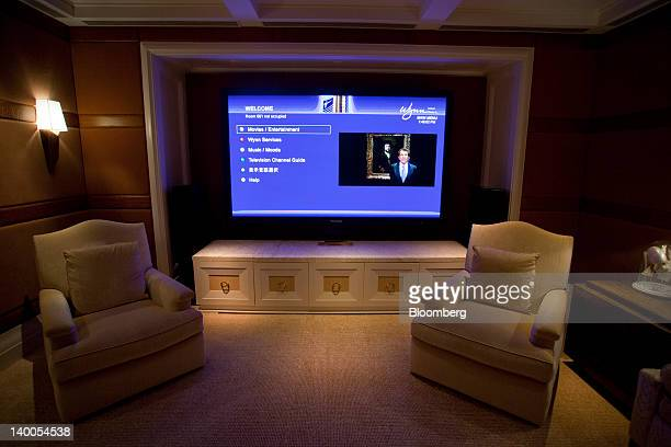 Steve Wynn chairman and chief executive officer of Wynn Resorts Ltd appears on a 100 inch flat screen television in the TV room of the Wynn Macau's...