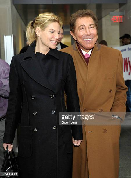 Steve Wynn chief executive officer of Wynn Resorts Ltd right and his companion Andrea Hissom left arrive for a hearing of the Pennsylvania Gaming...