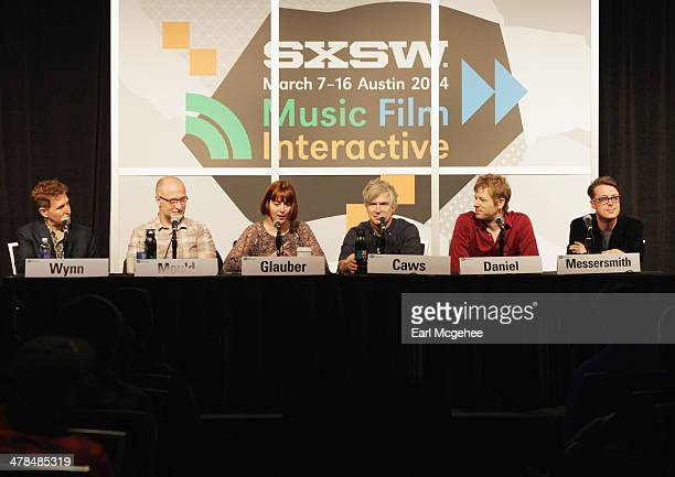 Steve Wynn of The Baseball Project musician Bob Mould Karen Glauber President of Hits Magazine and musicians Matthew Caws Britt Daniel and Jeremy...