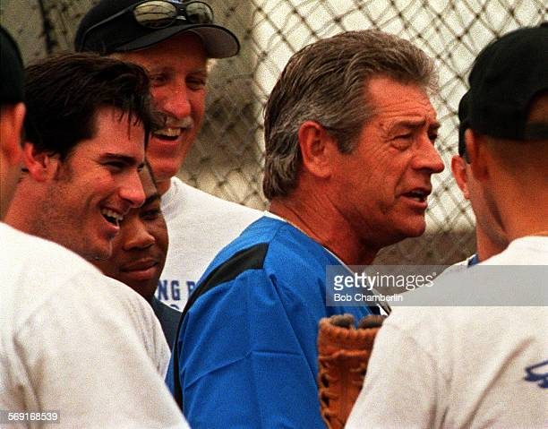 Steve Yeager coach for Long Beach's new minor league baseball team the Breakers joked with the players before they got on the bus for a trip to Utah...