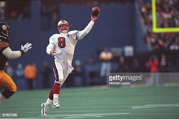 Steve Young of the San Francisco 49ers passes the ball during a NFL football game against the Pittsburgh Steelers on December 1 1996 at Three Rivers...