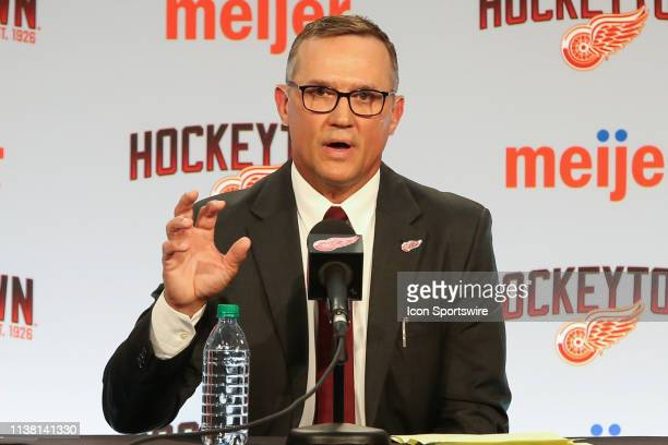 Steve Yzerman addresses members of the media during a press conference to introduce Steve Yzerman as the new Executive Vice President and General...