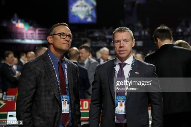 Steve Yzerman and Kris Draper of the Detroit Red Wings attends the 2019 NHL Draft at Rogers Arena on June 22, 2019 in Vancouver, Canada.