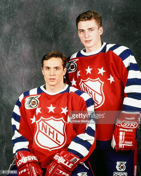 Steve Yzerman and Sergei Fedorov of the Campbell Conference and the Detroit Red Wings pose for a portrait before the 1992 43rd NHL AllStar Game...