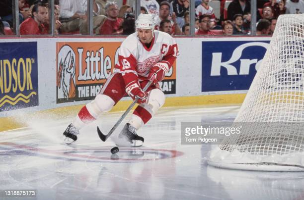 Steve Yzerman, Captain and Center for the Detroit Red Wings in motion on the ice during the NHL Eastern Conference Central Division game against the...