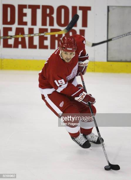 Steve Yzerman of the Detroit Red Wings handles the puck against the Nashville Predators in the third period during Stanley Cup Playoff first round...