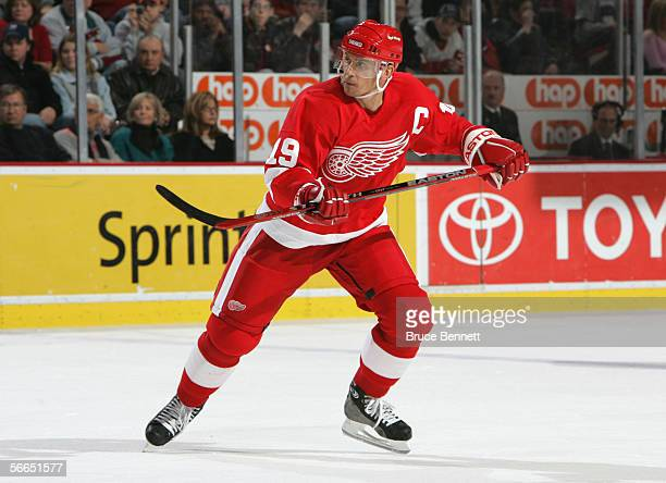 Steve Yzerman of the Detroit Red Wings skates during the game against the Dallas Stars at the Joe Louis Arena on January 8, 2006 in Detroit, Michigan.