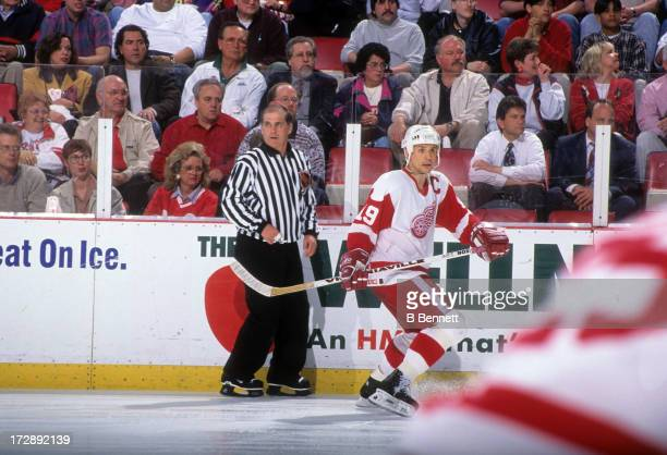 Steve Yzerman of the Detroit Red Wings skates on the ice during Game 7 of the 1996 Conference SemiFinals against the St Louis Blues on May 16 1996 at...