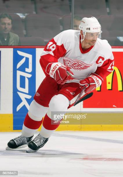 Steve Yzerman of the Detroit Red Wings warms up prior to taking on the Vancouver Canucks in an NHL game at General Motors Place on November 13 2005...
