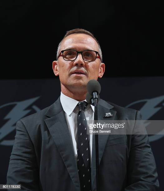 Steve Yzerman of the Tampa Bay Lightning attends the 2017 NHL Draft at the United Center on June 23 2017 in Chicago Illinois