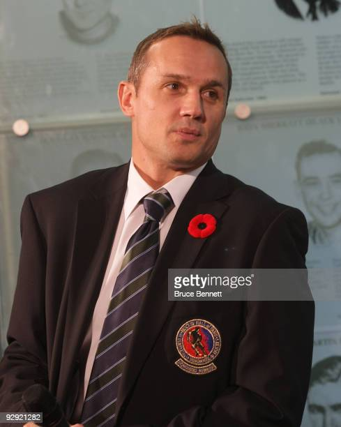 Steve Yzerman speaks with the media at the Hockey Hall of Fame Induction Photo Opportunity at the Hockey Hall of Fame on November 9 2009 in Toronto...