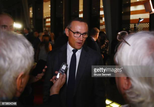 Steve Yzerman speaks with the media on the red carpet prior to the Hockey Hall of Fame induction ceremony at Brookfield Place on November 13 2017 in...