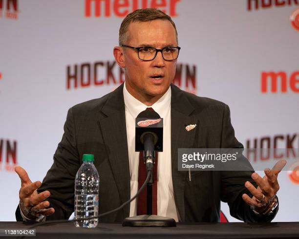 Steve Yzerman the new Executive Vice President and General Manager of the Detroit Red Wings talks to the media during a press conference at Little...
