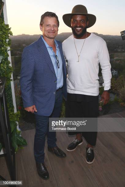 Steve Zahn and Sal Masekela attend the National Geographic's Annual Summer Party at Waldorf Astoria Beverly Hills on July 24 2018 in Beverly Hills...