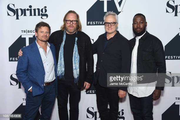 Steve Zahn Matthew Carnahan Bradley Whitford and Lamorne Morris attend 'Valley Of The Boom' Premiere at the 2018 Tribeca TV Festival at Spring...