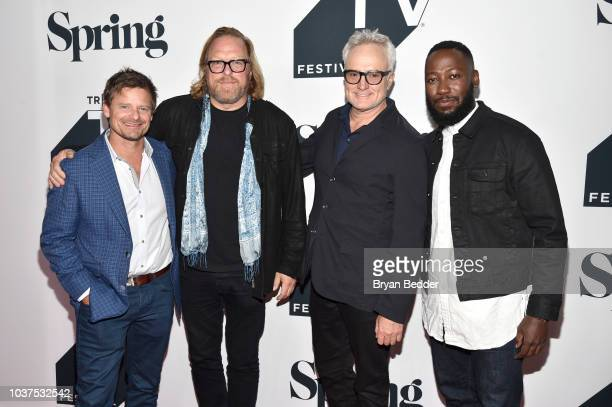"""Steve Zahn, Matthew Carnahan, Bradley Whitford and Lamorne Morris attend the premiere of National Geographic's """"Valley of The Boom"""" at Tribeca TV..."""