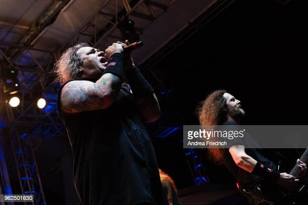 Steve 'Zetro' Souza and Kragen Lum of Exodus perform onboard the cruise liner 'Independence of the Seas' during the '70000 Tons of Metal' Heavy Metal...
