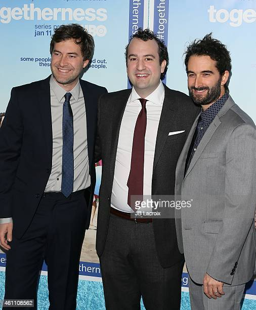 Steve Zissis, Jay Duplass and Mark Duplass arrive at the Premiere of HBO's 'Togetherness' held at Avalon on January 6, 2015 in Hollywood, California.