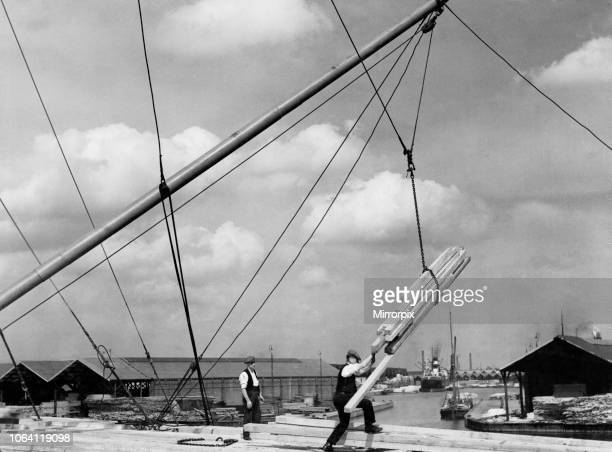 Stevedores unloading 6000 tons of Empire wood Douglas Fir and Oregon Pine from Monkleigh London 23rd October 1934