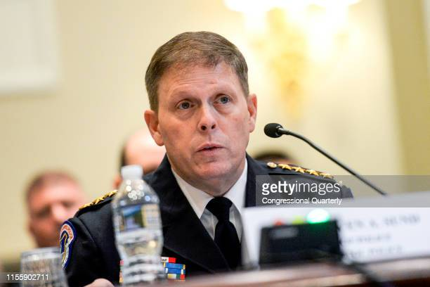 Steven A. Sund, chief of police of the U.S. Capitol Police, testifies in the House Administration Committee hearing on Oversight of the United States...