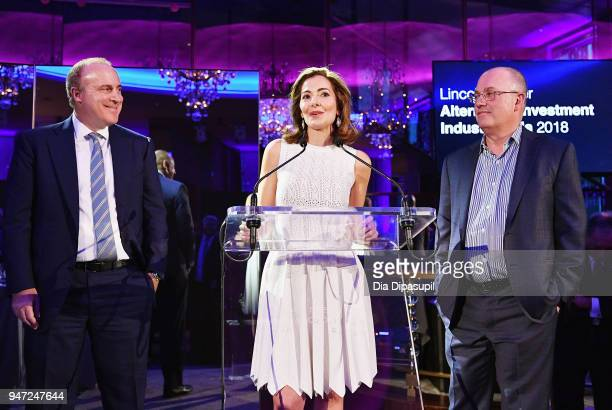 Steven A Tananbaum Ilana D Weinstein and Bennett J Goodman speak onstage during the Lincoln Center Alternative Investment Industry Gala on April 16...