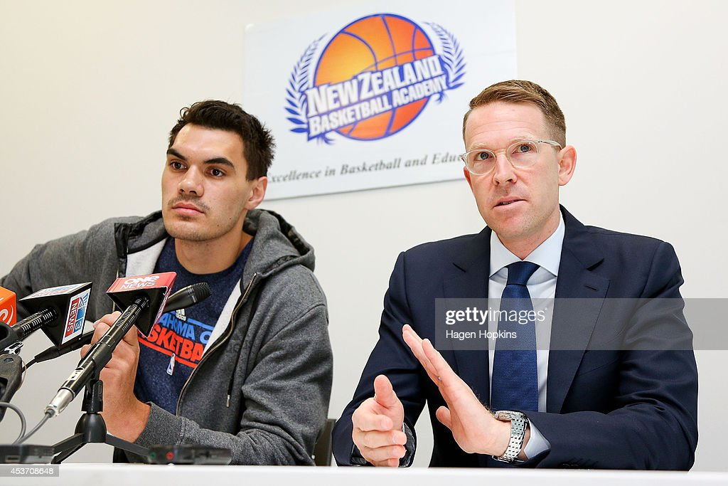 Steven Adams and General Manager Sam Presti of the Oklahoma City Thunder speak to media at a press conference during the New Zealand Basketball Academy Launch at ASB Sports Centre on August 17, 2014 in Wellington, New Zealand.