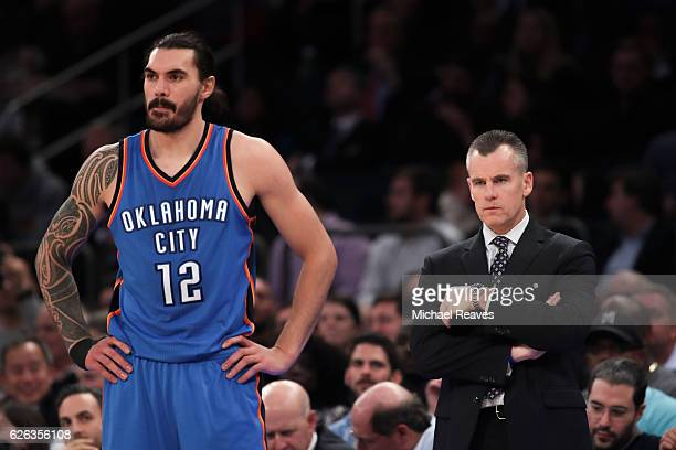 Steven Adams and head coach Billy Donovan of the Oklahoma City Thunder look on against the New York Knicks during the second half at Madison Square...