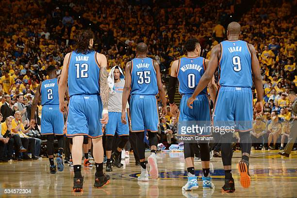 Steven Adams Kevin Durant Russell Westbrook and Serge Ibaka of the Oklahoma City Thunder during Game Five of the Western Conference Finals against...