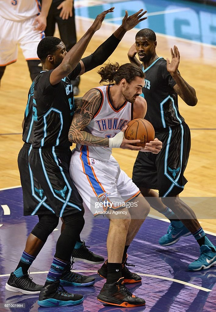 Steven Adams (C) of Oklahoma City Thunder in action during the NBA match between Oklahoma City Thunder vs Charlotte Hornets at the Spectrum arena in Charlotte, NC, USA on January 04, 2017.