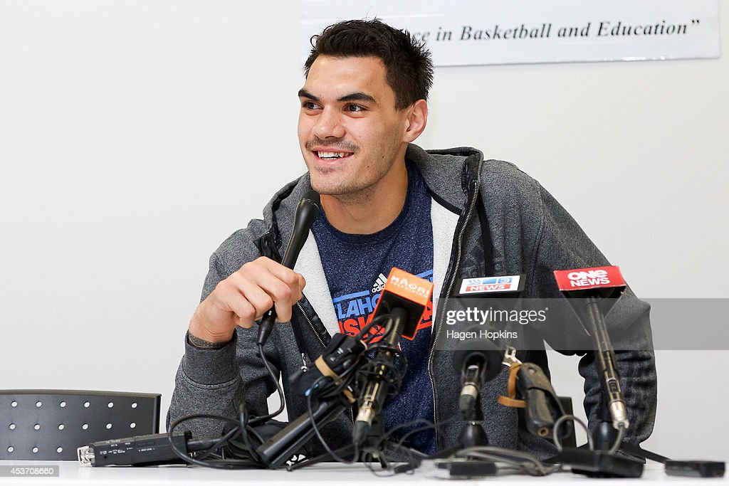 Steven Adams of Oklahoma City Thunder speaks to media at a press conference during the New Zealand Basketball Academy Launch at ASB Sports Centre on August 17, 2014 in Wellington, New Zealand.