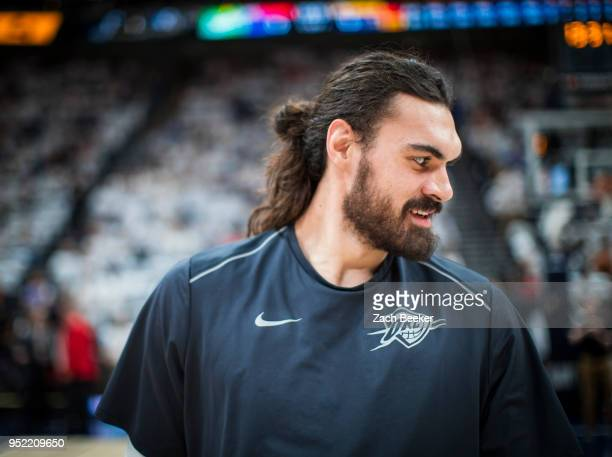 Steven Adams of the Oklahoma City Thunder before the game against the Utah Jazz in Game Four of Round One of the 2018 NBA Playoffs on April 23 2018...