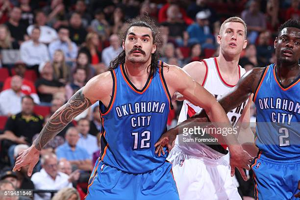 Steven Adams of the Oklahoma City Thunder defends the basket against the Portland Trail Blazers during the game on April 6 2016 at Moda Center in...