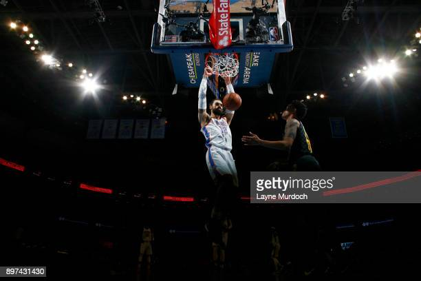 Steven Adams of the Oklahoma City Thunder dunks against the Atlanta Hawks on December 22 2017 at Chesapeake Energy Arena in Oklahoma City Oklahoma...