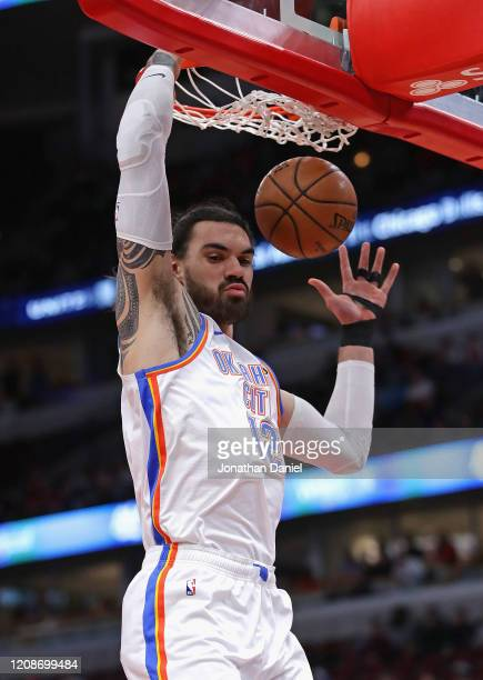 Steven Adams of the Oklahoma City Thunder dunks against the Chicago Bulls at the United Center on February 25 2020 in Chicago Illinois NOTE TO USER...