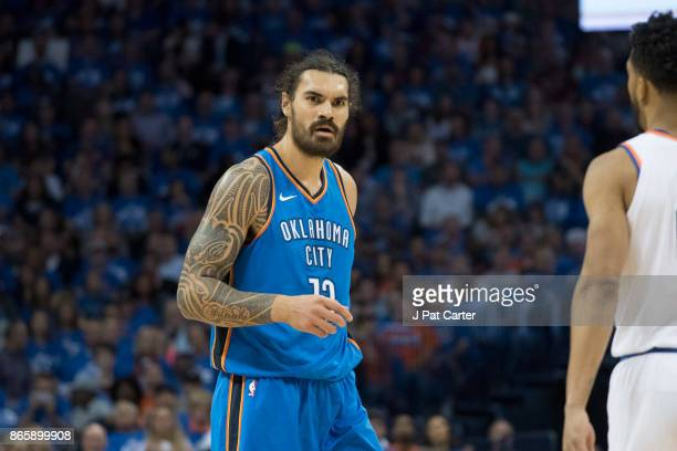 Steven Adams of the Oklahoma City Thunder during the first half of a NBA game at the Chesapeake Energy Arena on October 19 2017 in Oklahoma City...