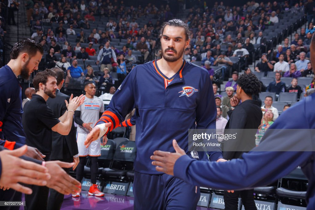 Steven Adams #12 of the Oklahoma City Thunder gets introduced into the starting lineup against the Sacramento Kings on November 23, 2016 at Golden 1 Center in Sacramento, California.