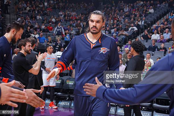 Steven Adams of the Oklahoma City Thunder gets introduced into the starting lineup against the Sacramento Kings on November 23 2016 at Golden 1...