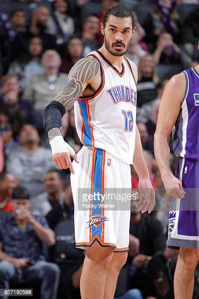 Steven Adams of the Oklahoma City Thunder looks on during the game against the Sacramento Kings on November 23 2016 at Golden 1 Center in Sacramento...