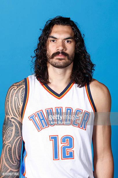 Steven Adams of the Oklahoma City Thunder poses for a head shot during the 2016 NBA Media Day on September 25 2016 at the Chesapeake Energy Arena in...