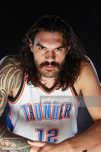 Steven Adams of the Oklahoma City Thunder poses for a portrait during 2016 NBA Media Day on September 23 2016 at the Chesapeake Energy Arena in...