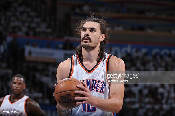 Steven Adams of the Oklahoma City Thunder prepares to shoot a free throw against the San Antonio Spurs in Game Four of the Western Conference...