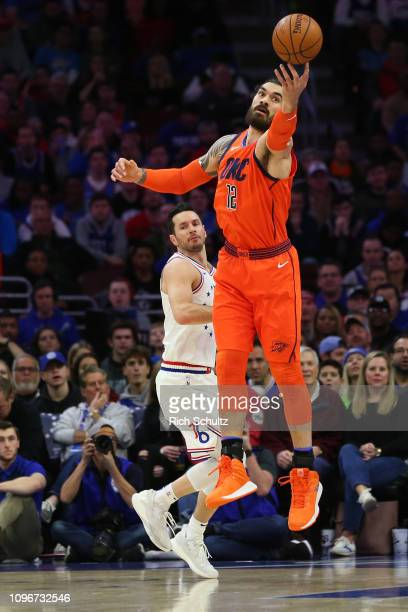 Steven Adams of the Oklahoma City Thunder pulls in a pass against the Philadelphia 76ers during a game at Wells Fargo Center on January 19 2019 in...