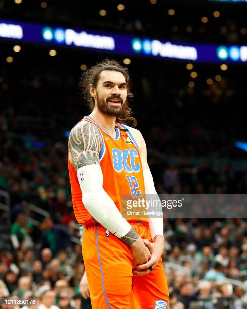 Steven Adams of the Oklahoma City Thunder reacts during the third quarter of the game against the Boston Celtics at TD Garden on March 08, 2020 in...
