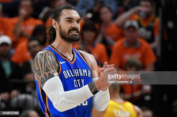 Steven Adams of the Oklahoma City Thunder reacts to a play in the first half during Game Three of Round One of the 2018 NBA Playoffs against the Utah...