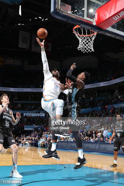 Steven Adams of the Oklahoma City Thunder shoots the ball against the New Zealand Breakers during the preseason on October 10, 2019 at Chesapeake...