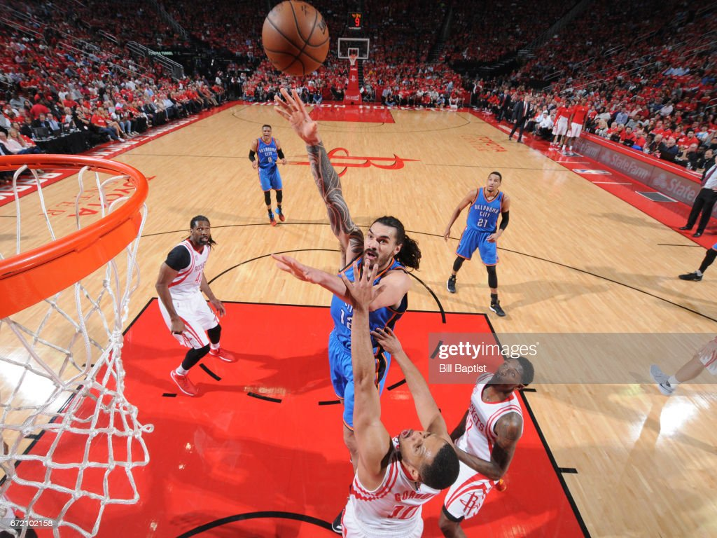 Steven Adams #12 of the Oklahoma City Thunder shoots the ball against the Houston Rockets during Game Two of the Eastern Conference Quarterfinals of the 2017 NBA Playoffs on April 19, 2017 at the Toyota Center in Houston, Texas.