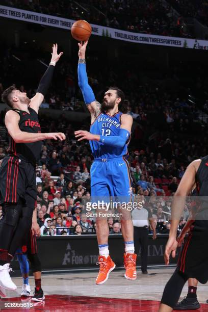 Steven Adams of the Oklahoma City Thunder shoots the ball against the Portland Trail Blazers on March 3 2018 at the Moda Center in Portland Oregon...
