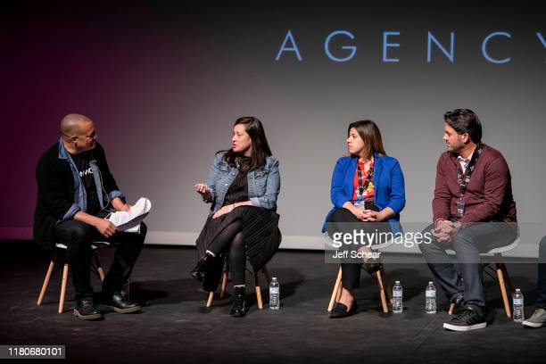 Steven Adams Sara Barkan Katie Gamelli and Aron Giannini attends the Catalyst Content Festival on October 12 2019 in Duluth Minnesota