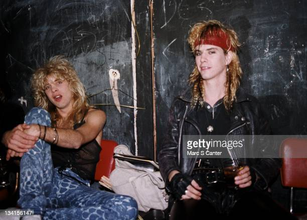 Steven Adler and Duff McKagan of the rock group 'Guns n' Roses' backstage at The Music Machine on September 13 1986 in Los Angeles California